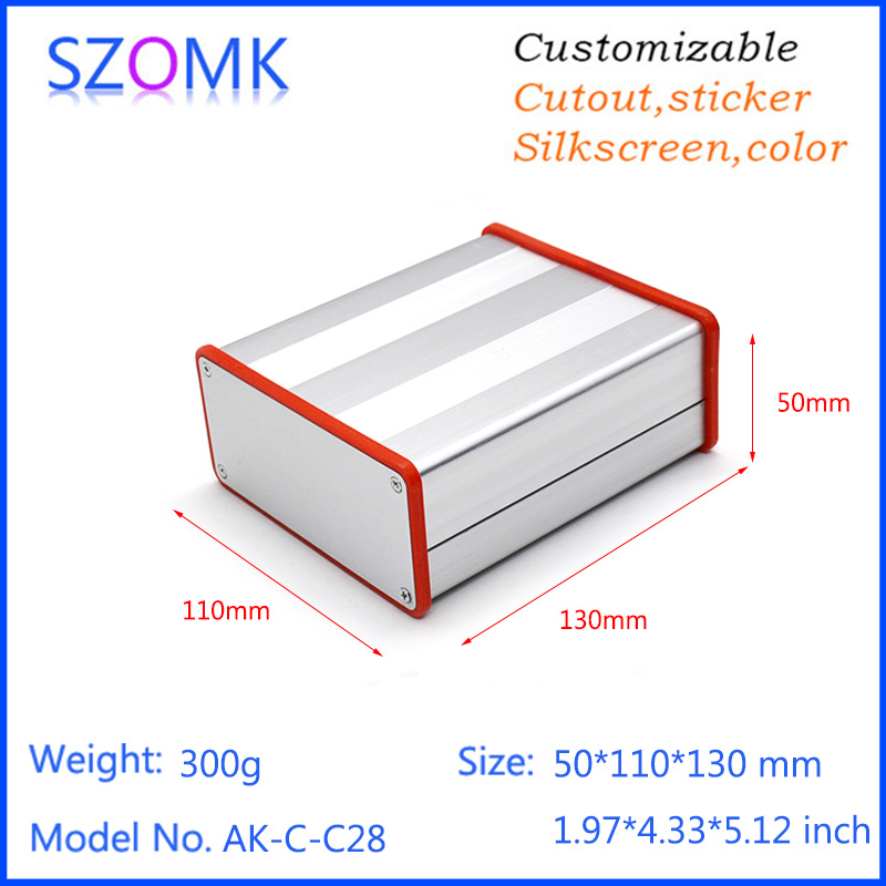 1 pc, szokm anodizing extruded aluminum cabinet enclosure for pcb with silicone rings 50*110*130mm aluminium case junction box 4pcs a lot diy plastic enclosure for electronic handheld led junction box abs housing control box waterproof case 238 134 50mm