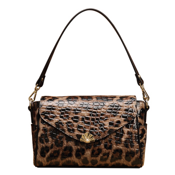 2020 New Pure Leather Shoulder Leather Female Bag Leopard Print Practical Large Capacity Women Purses and Handbags