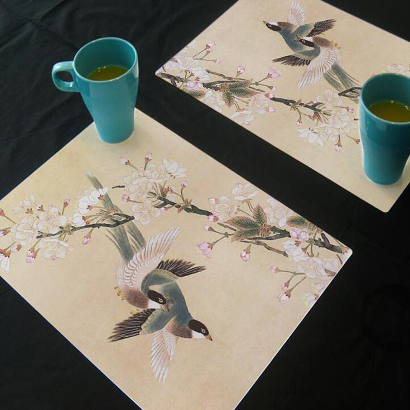 1 pc creative bird painted design theme pvc antiskid coaster placemat waterproof kitchen table mat home - Kitchen Table Mats