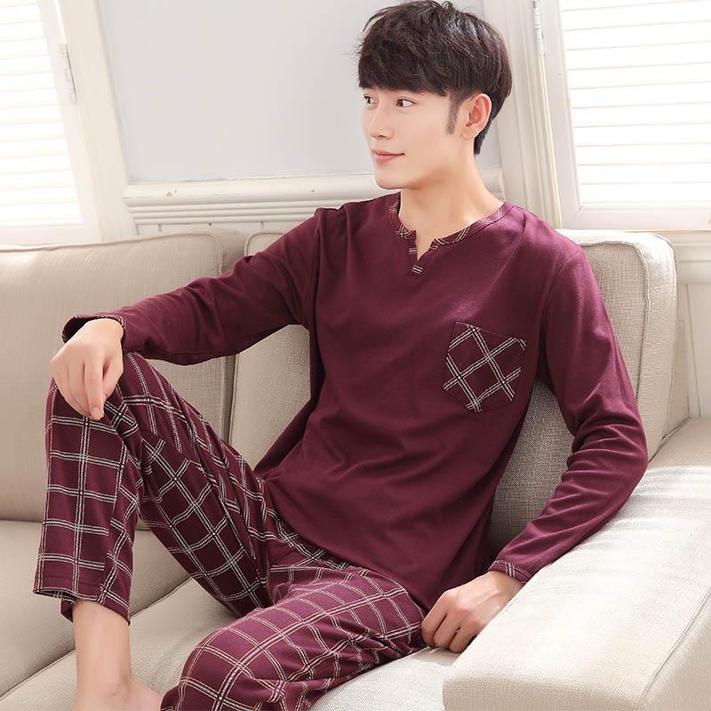 Men's   Pajamas   Autumn Long sleeves Cotton   Pajamas   Sleepwear Pullover Pyjamas Casual Men Lounge   Pajama     Set