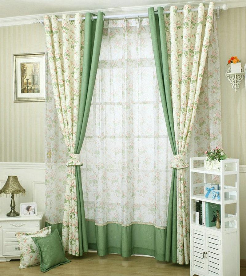 BIgmUm Bedroom Curtain Pastoral Style Leaves Pattern