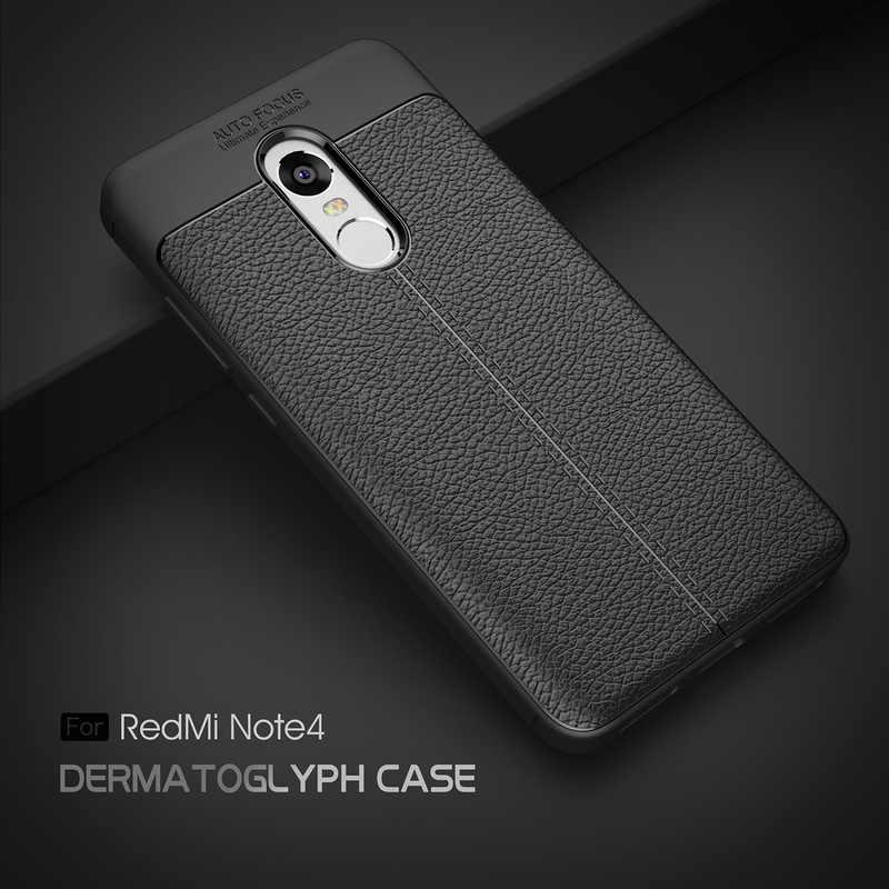 Чехол для телефона Redmi Note 4X чехол Xiaomi 3 противоударный мягкий из ТПУ с узором Личи 4