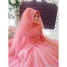 kejiadian long sleeve muslim wedding dress ball gown