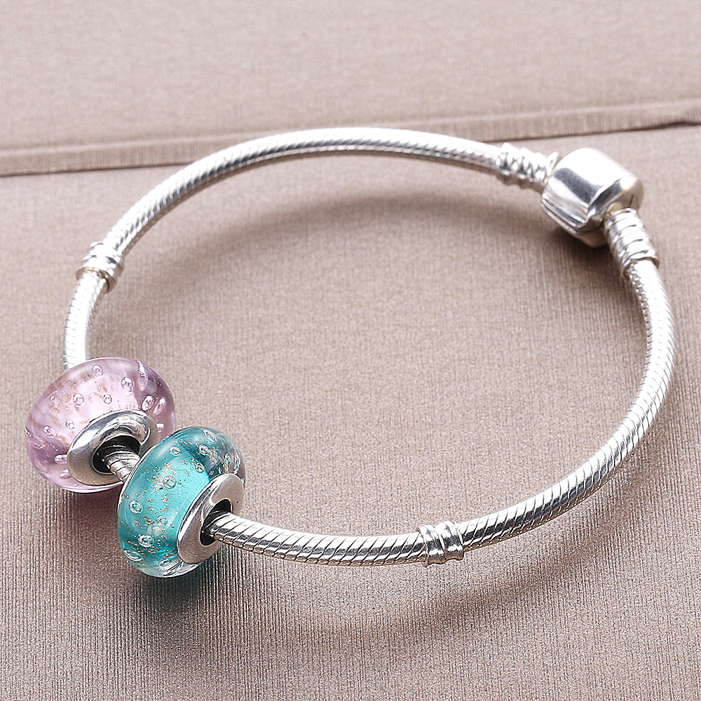 420016d7c ... get moonmory 925 sterling silver mint pink glitter glass murano charm  with bubble fit pandora bracelet ...