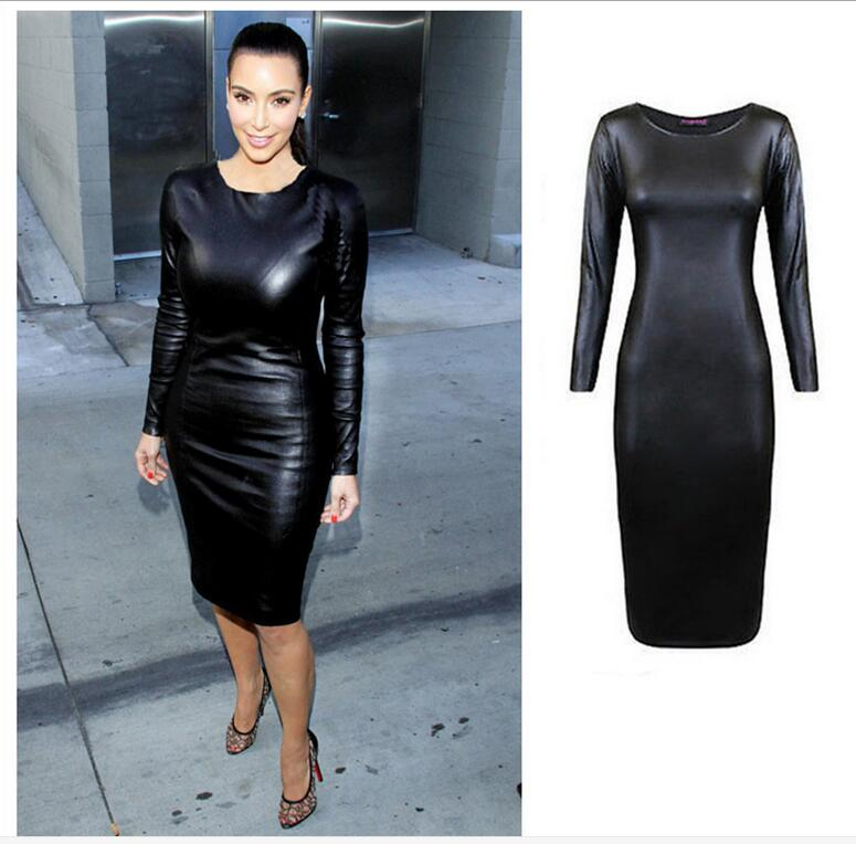 Hot 2016 Women Leather Dress Sexy Clubwear Long Sleeve Crew Neck Party Black Midi Faux Leather Dress