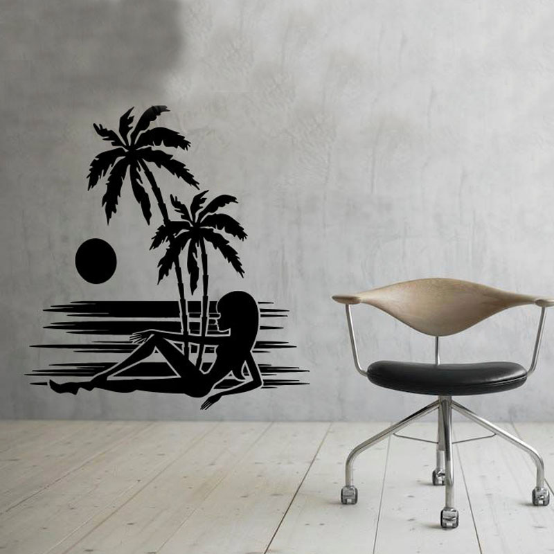 Sunset Palm Tree Wall Decor Decal A Sexy Girl Liying On The Beach
