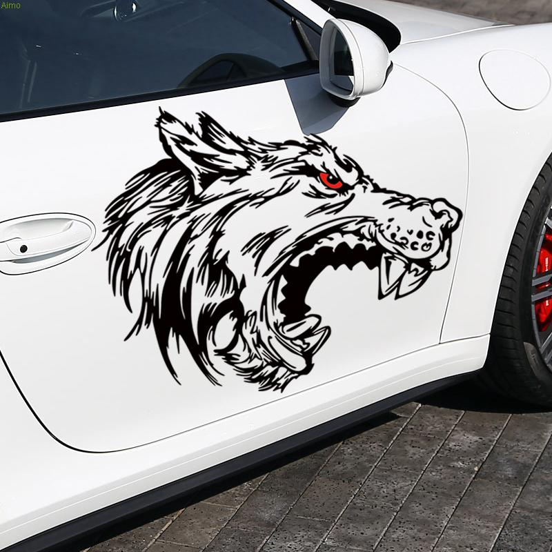 Cool fierce wolf design car stickers and decals,fashion die cut vinyl cover accessories for audi a6/golf 7/opel astra g/audi new lone wolf and cub v 7