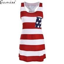 02b6116953 Gamiss American Flag drukuj patriotyczne sukienka bez pleców zbiornika kobiety  bez rękawów Mini sukienki letnie Casual USA Flag .