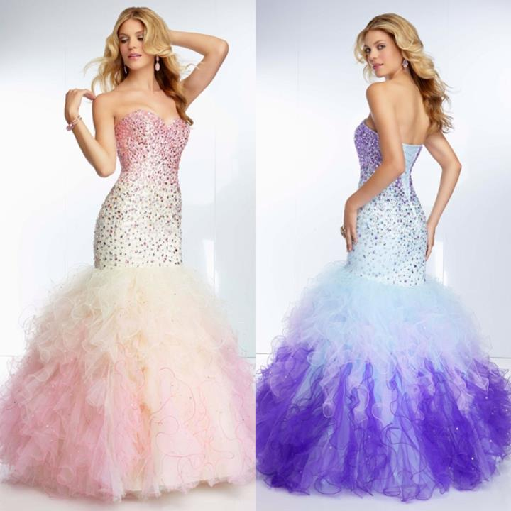 Ombre Beading on Ruffled Tulle Mermaid Gown Sweetheart Corset Back ...