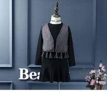 2016 Мода Детская Одежда Осень платья для девочек 2 шт. длинные рукава черный рябить Платье + кисточка жилет пальто девушки платье