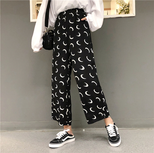 Gothic Harem   Pants   Trousers Women High Waist Loose   Wide     Leg     Pants   Moon print 3/4 Loose   Pants   Womens   pants