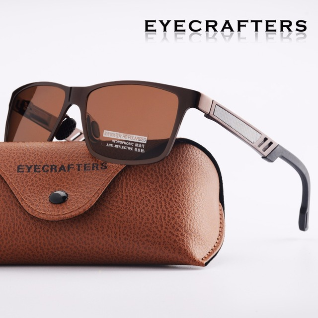 bbf8f0b759d Eyecrafters Brown Designer Men s Aluminum Polarized Sunglasses Mens Driving  Mirrored Sun Glasses Retro Vintage Square Eyewear