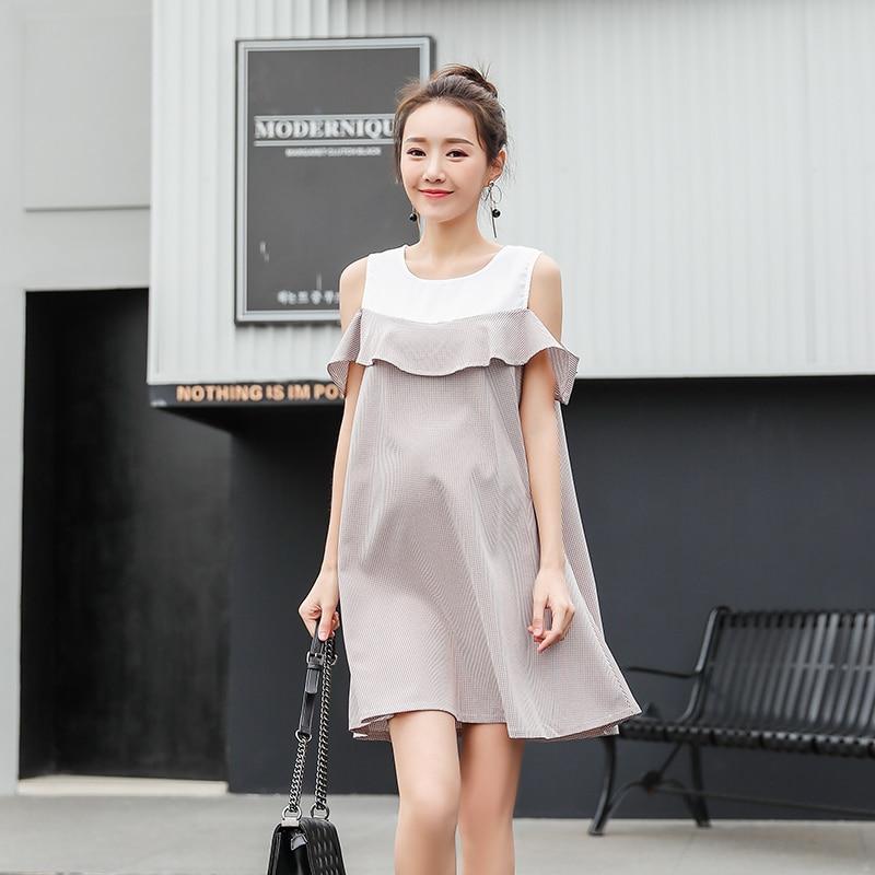 Stylish Ruffle Strapless Ties Waist Maternity Dress 2018 Summer Korean Fashion Clothes for Pregnant Women Pregnancy Wear 4