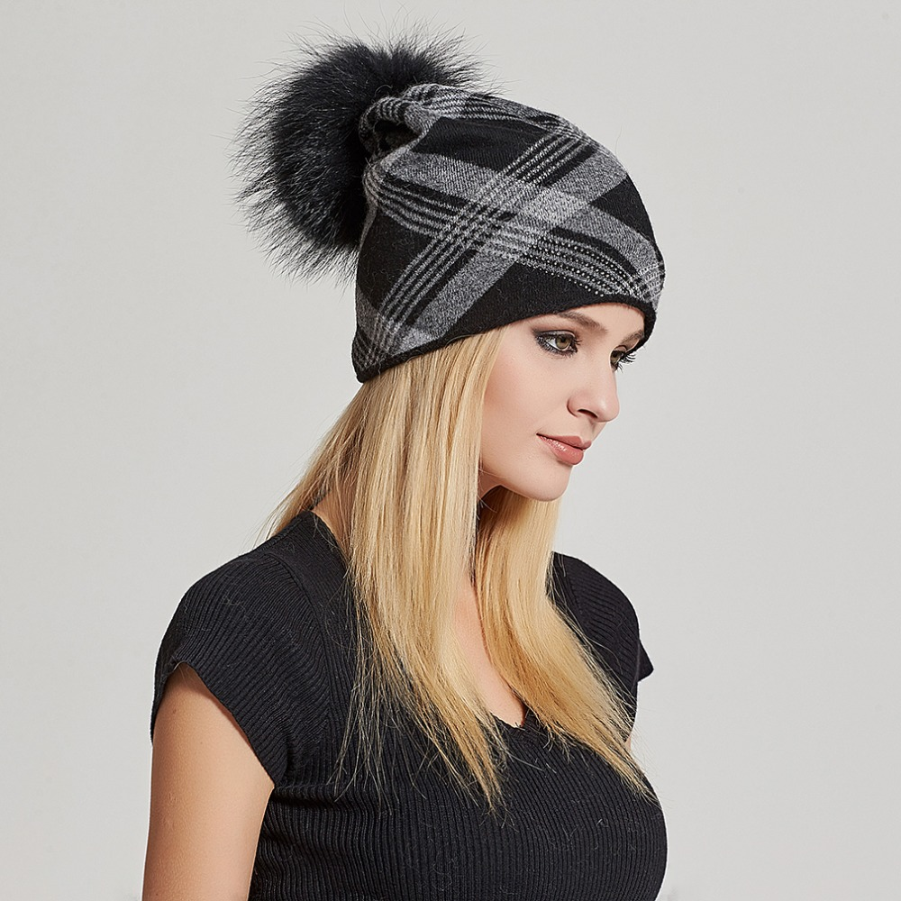 452649b89fab3 Oversized Cashmere Slouchy Beanie Hat with Puff Real Fur Pompom fo...