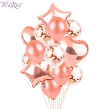 FENGRISE Rose Gold Party Decoration Christening Confetti Balloon Wedding Birthday Supplies DIY Decor Engagement Balloons