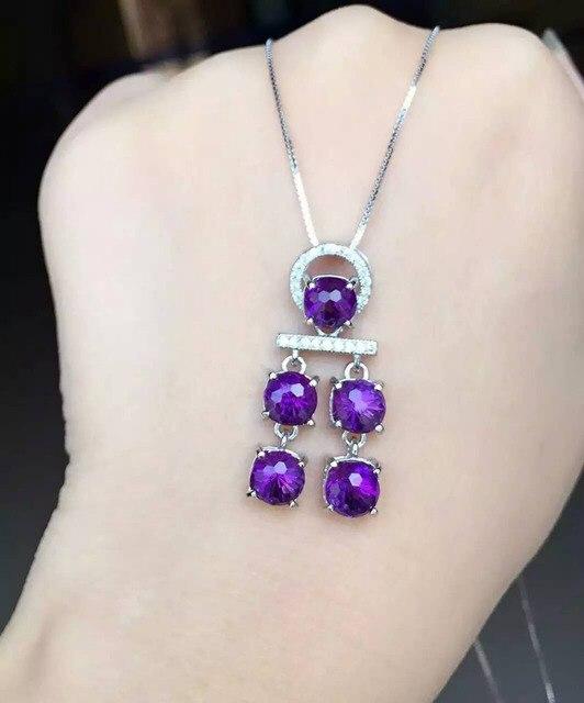 Природный камень аметист кулон S925 серебро Природных драгоценных камней Ожерелье модный Тонкий ветер куранты женщины партия ювелирных изделий
