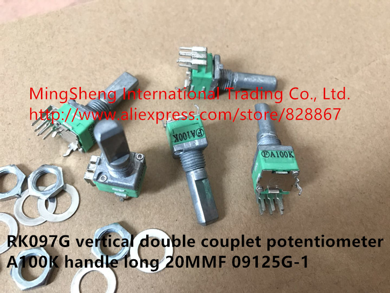 Original new 100% RK097G vertical double couplet potentiometer A100K handle long 20MMF 09125G-1 (SWITCH) цены