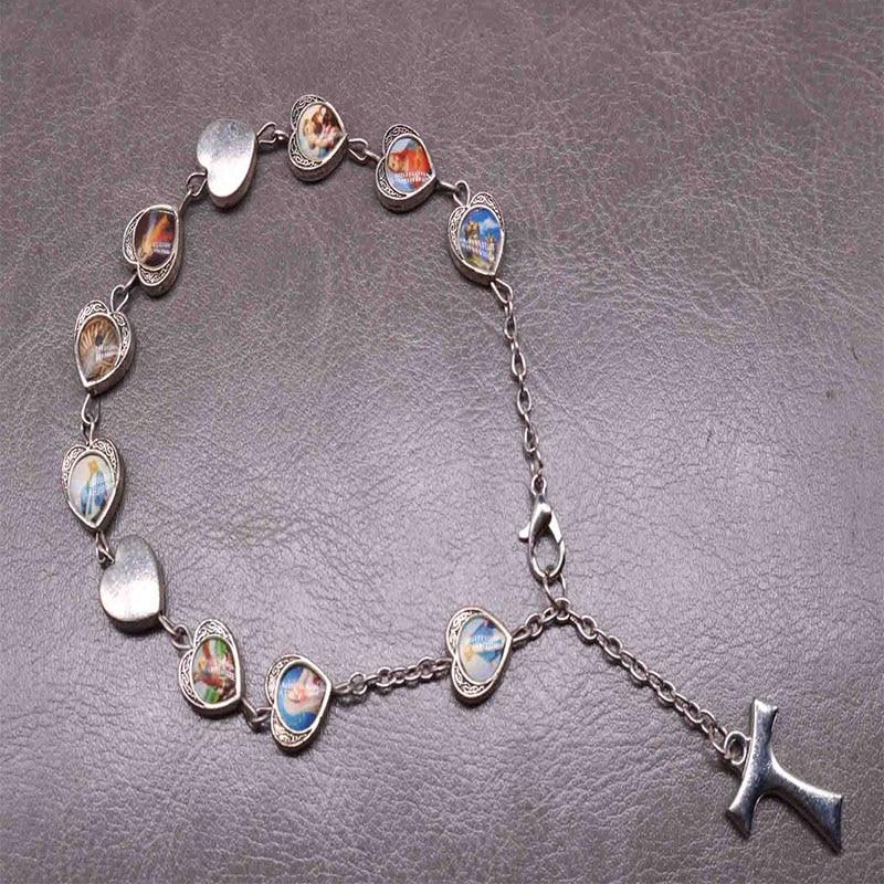 Catholique Charme Amour Jésus Sacré Coeur Icône Croix Chapelet Bracelet, Prière Icône Maria Bénédiction Bracelet Orb. Icône aléatoire