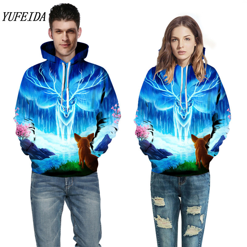 Men Women 3D Prints Sweatshirts Animal Print Hoodies With Hat Nebula Autumn Winter Loose Thin Winter Hooded Hoody Tops