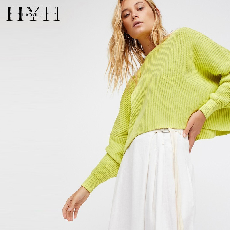 HYH Haoyihui Fashion Round Neck Loose And Comfortable Pullover Ribbon Designn Easy Fair Maiden Long Sleeves Female Sweater in Pullovers from Women 39 s Clothing