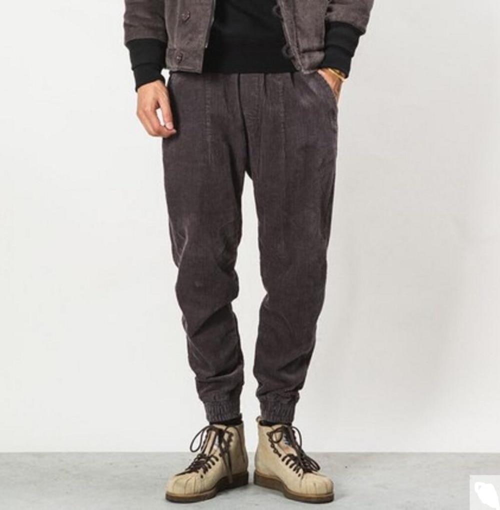 Осенне зимняя обувь Для мужчин мода сплошной цвет универсальные Свободные повседневные вельветовые Штаны мужской старинные штаны шаровары луч брюки! - 2