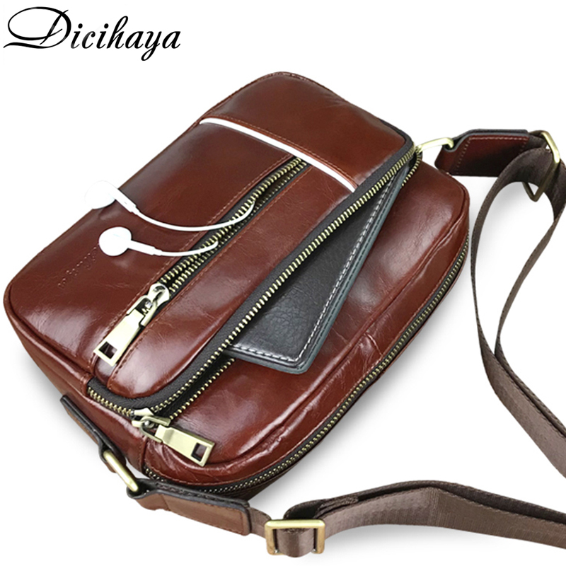 DICIHAYA 2018 New Genuine Leather Men Messenger Bag Casual Crossbody Bag Business Men's Handbag Bags for Gift Brand Shoulder Bag brand 100% genuine leather men messenger bag casual crossbody bag business men s handbag bags for gift shoulder bags men li 1747