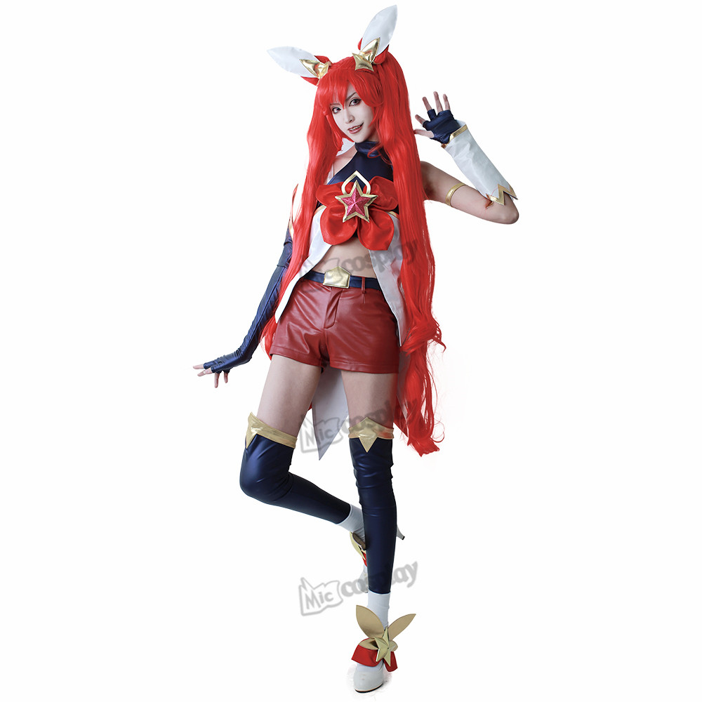 Cos Jinx Cosplay Costume Women Red Shorts Headwear
