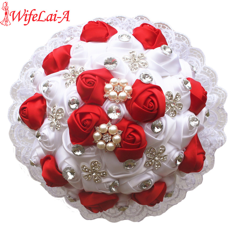 WifeLai-A 1Piece Luxury White Red Rose Flowers Lace Brooch Bridal Bouquets Diamonds Stitch Wedding Decoration Bouquets W2281