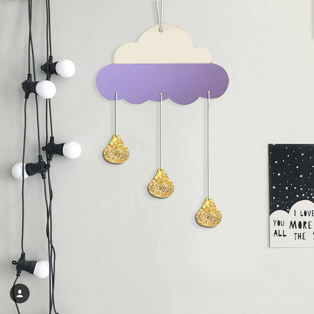 1Pc Nordic Style Wooden Cloud Glitter Water Drop Hanging  Decoration Kids Room Decor Wall Hanging Home Decor Party Prop