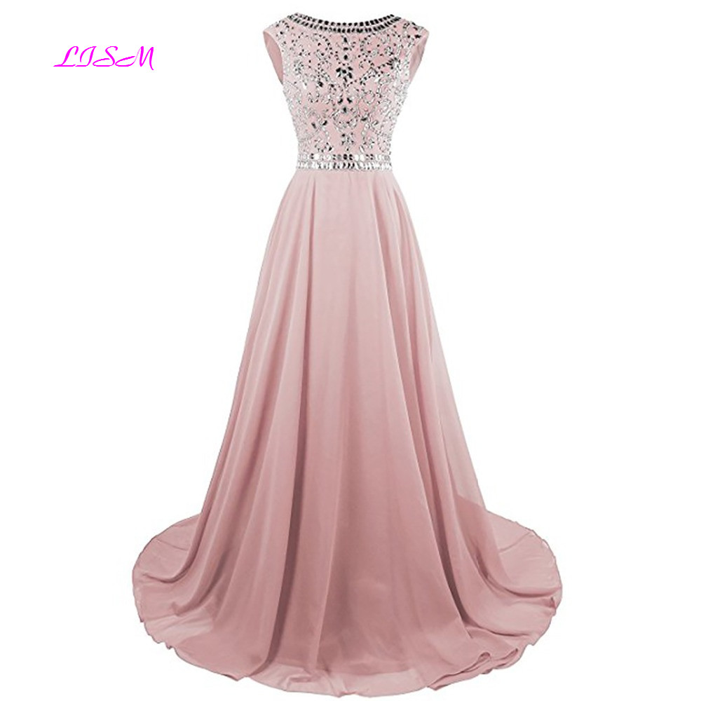 High Quality Scoop Sleeveless V Back Beaded Crystal Sequins A Line Chiffon   Prom     Dresses   2018 Sweep Train Rhinestones Party Gown