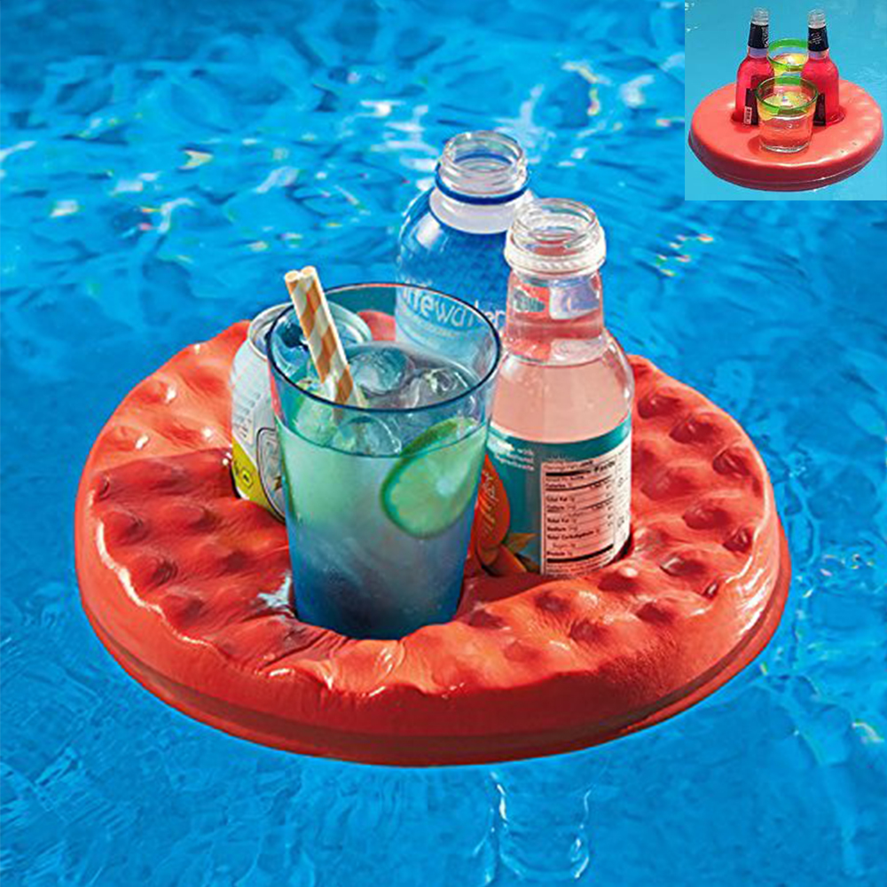 Floating Foam Fruit Drink Cup Holder Portable Pool Tray for Pool Party, Water Fun and Kids Bath-4 Holes