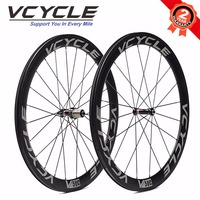 VCYCLE 50mm Clincher Carbon Wheel Straight Pull Wheelset With Novatec Hub For 700C Road Bike