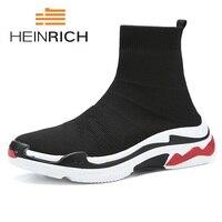 Генрих 2018 осень зима обувь Для мужчин модный бренд Для мужчин высокого Эластичные носки Мужской легкий тенденция Мужская обувь Bottes Homme