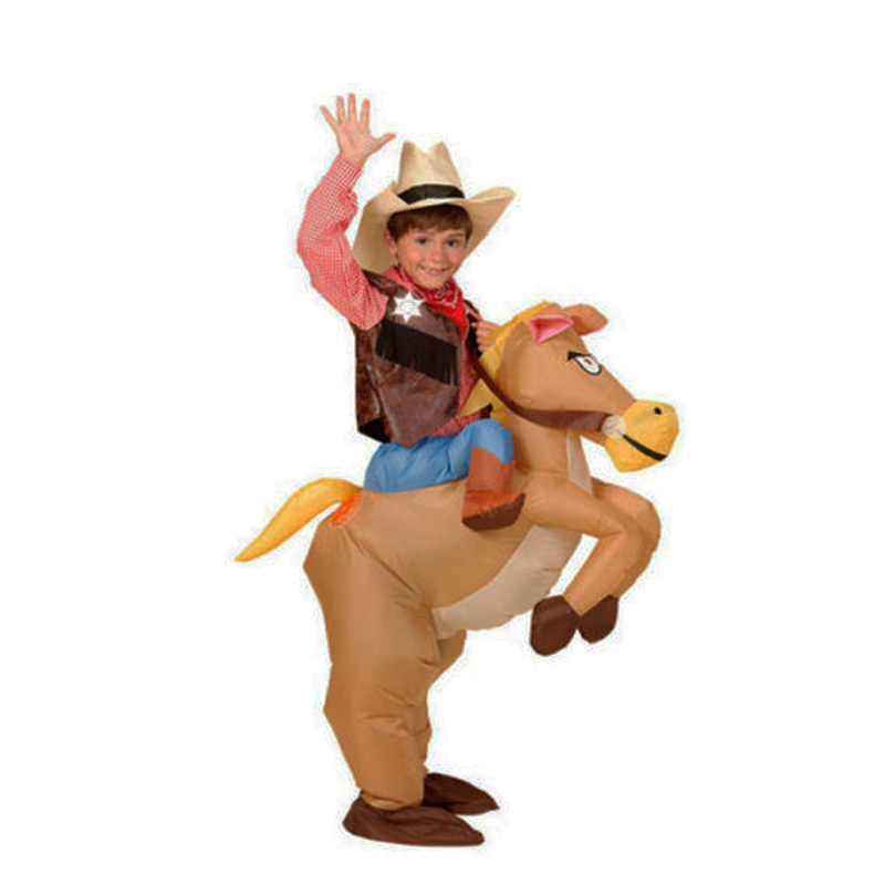 40 to 50 inch tall kids gift animal halloween costume kids inflatable cowboy ride horse childrens day purim party dress in mascot from novelty special