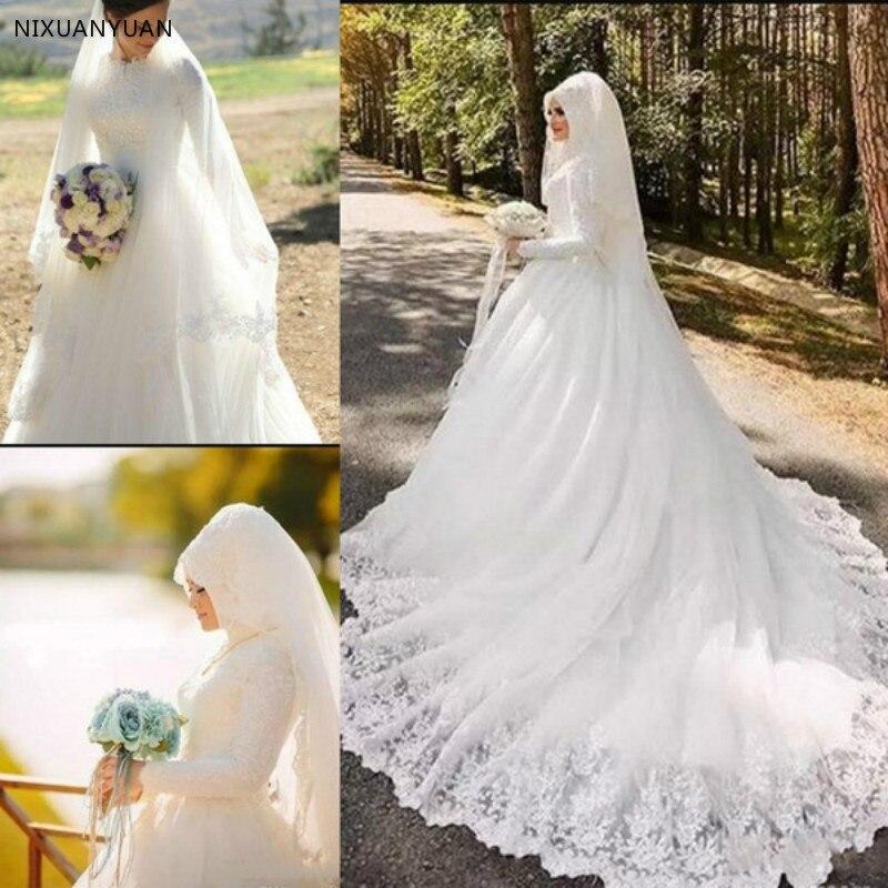 Muslim Lace Wedding Dresses Saudi Arabic Dubai Middle East Vestidos De Novia Vintage High Neck Long Sleeves Bridal Bride Dress