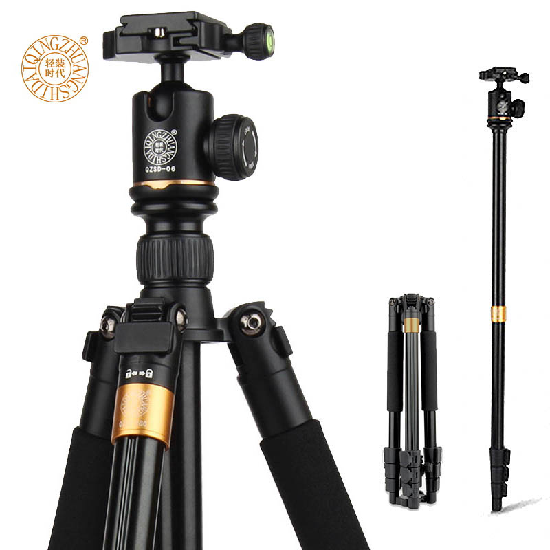 QZSD Q580 57-inch Professional Portable Travel Tripod Monopod with Ball Head Photography Tripod Stand For DSLR Camera Load 6kg ashanks professional aluminum camera tripod mini portable monopod with ball head for dslr photography video studio load 10kg