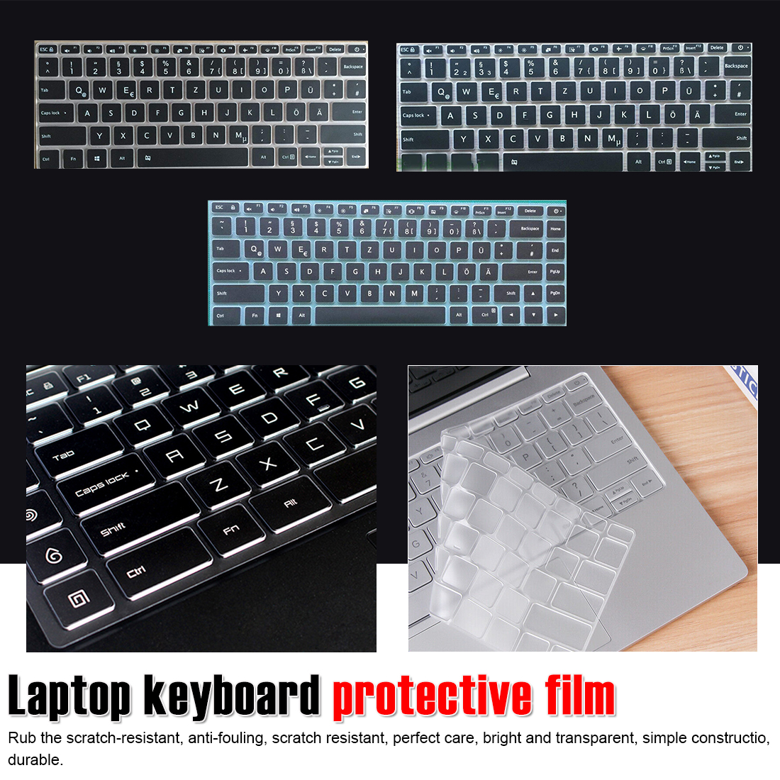 One/_Color Keyboard Cover Skin Waterproof Dustproof Silicone Film Universal Keyboard Protector Guard for 13 17 Inch Notebook