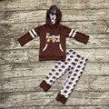 Crianças roupas de Outono meninas do bebê roupas meninas do bebê moletom com capuz roupas meninas é futebol fooball vocês outfits roupas únicos