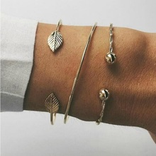 2019 New Fashion Gold Leaf 3pcs/set Open Bracelet Bangles Set For Women Ladies Girls Birthday Party Gifts Jewelry Wholesale