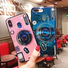 Vintage Idear Camera Case for iPhone XS MAX XR 6 6s 7 8 Plus Cover Luxury Blu-ray Soft Cases with Mobile Holder