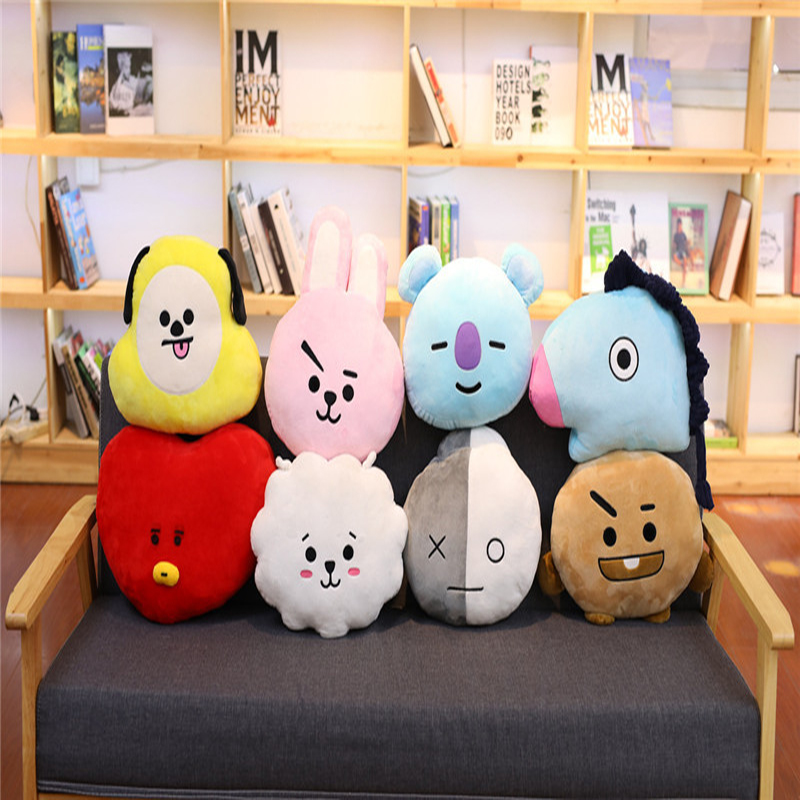 Bangtan Boys BTS Bt21 Kawaii Pillow Plush Toy Bolster Cartoon Dolls TATA VAN COOKY CHIMMY SHOOKY Christmas Children Toy 8 Styles