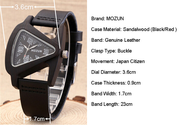 Ladies Sandalwood Wristwatch With Genuine Cowhide Leather Strap