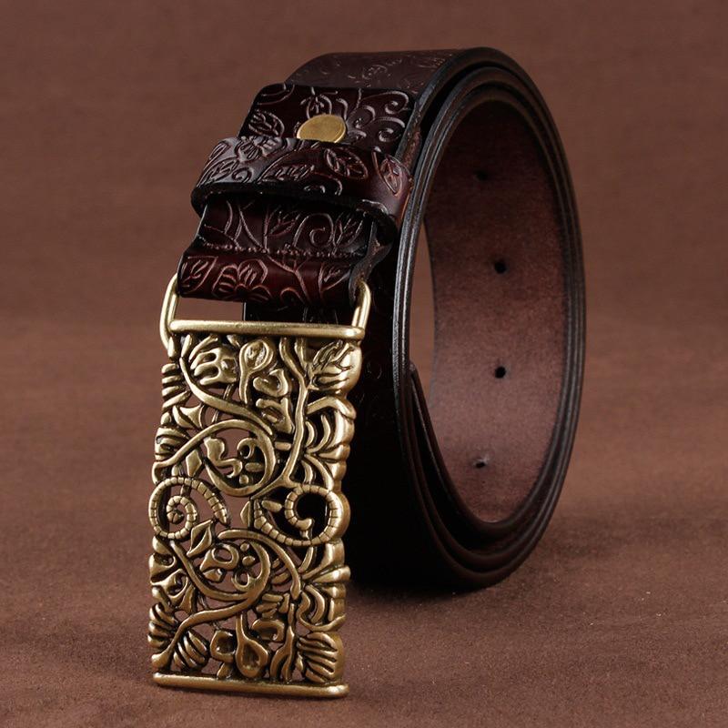 [LFMB]Belt For Women Waistband Cowskin Leather Lady Belt Vintage Pin Buckle Hollow Flower Fashion Woman Jeans Girdle Female