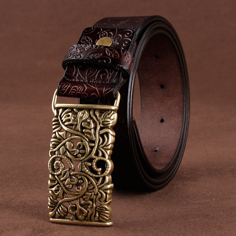 [LFMB]  Belt   For Women Waistband Cowskin Leather Lady   Belt   Vintage Pin Buckle Hollow Flower Fashion Woman Jeans Girdle Female