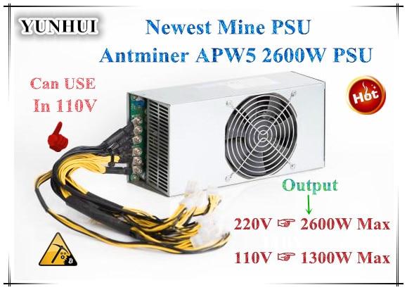 Новый Antminer APW5 2600 Вт BITMAIN БП 12В 216A MAX 2600 Вт для ANTMINER Z9 S9 S9i Sj L3 + D3 DR3 Байкал BK-G28 X10 Innosilicon A9 A10