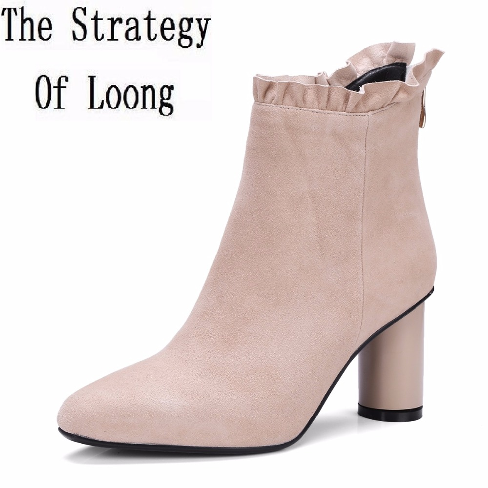 Spring Autumn Casual High Heels Pointed Toe Pure Color Zip Women Boots 2017 New Genuine Leather Square Heel Ankle Boots ZY170917