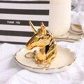 Dekorative Goldene Einhorn Porzellan Platte Ring Platte Ringe Halter Armbänder Ohrringe Trays Kleine Schmuck Rack Keramik Ring Gericht|Schalen & Teller|Heim und Garten -