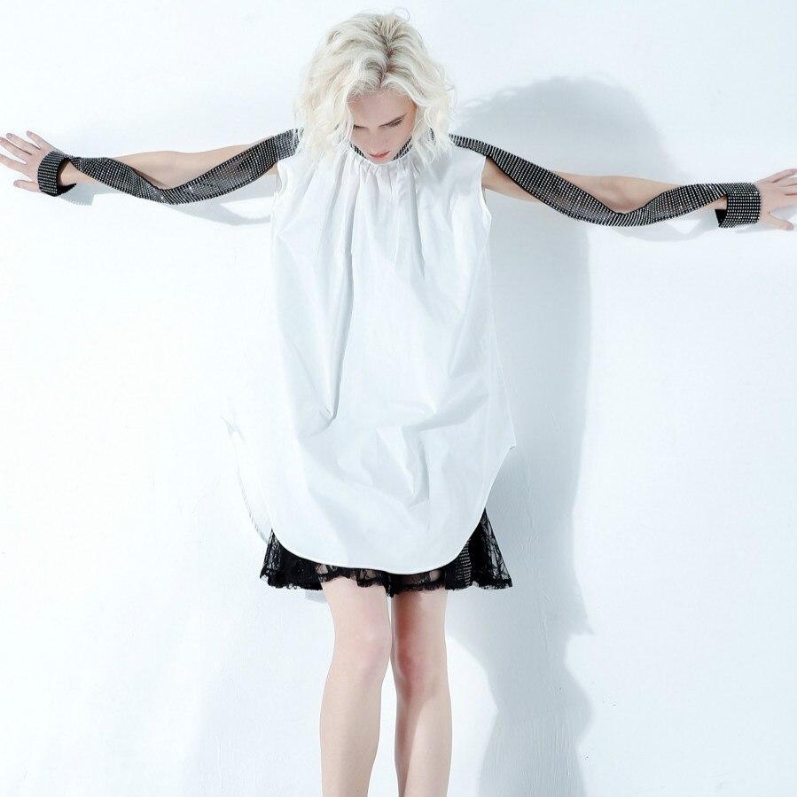 Style de rue européen 2019 femmes bling bling diamants conception col roulé longues chemises lâche blouse blanc/noir haut