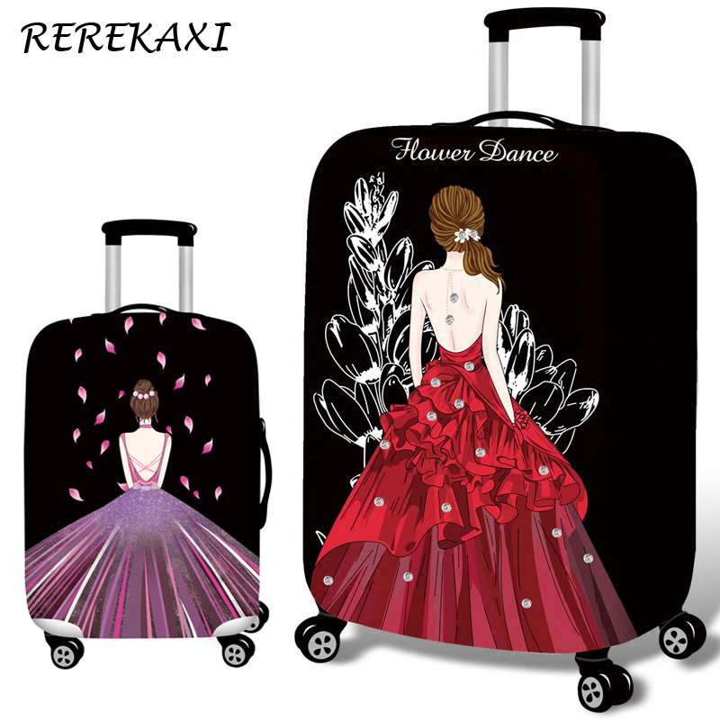 3D Princess Women Dress Travel Suitcase Luggage Cover 18-32 Inch Trolley Elastic Dust Protection Cover Baggage Case Covers