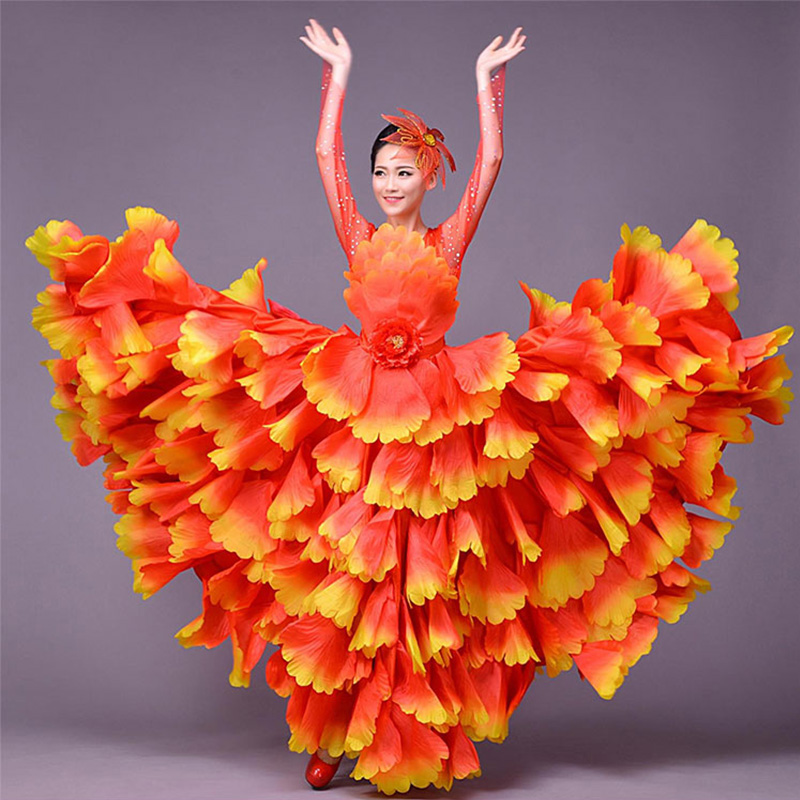 Flamengo Spanish Ballroom Dance Competition Dresses Adults Clothes Stage Show Exercise Performance Wear Ladies Clothing DNV11566
